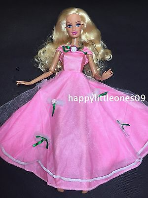 Pink Barbie Doll Wedding Party Evening Dress/Clothes/Outfit Ribbon Bow Brand New