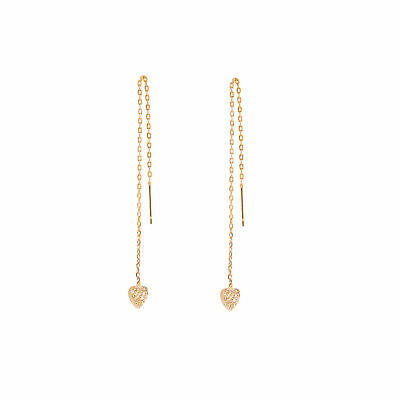 Yellow Gold Plated Sterling Silver Heart Clear CZ Pave Pull Through Earrings