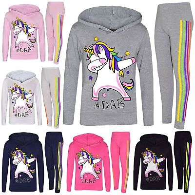 Kids Girls Xmas Tracksuit Rainbow Unicorn #Dab Floss Hooded Top Legging Set 7-13