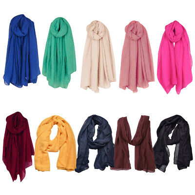 AU Women Soft Cotton Linen Crinkle Long Scarf Shawl Wrap Stole Scarves 180x100cm