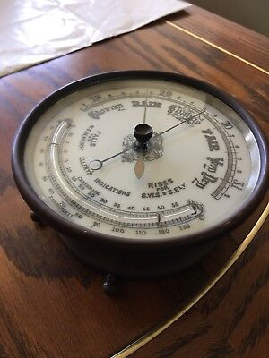 Antique Ellery's Indications 1800's Working Brass Barometer With Thermometer.
