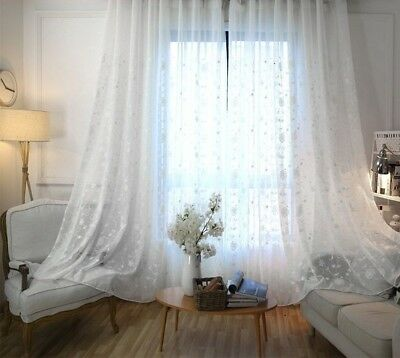 White Linen Sheer Window Curtain Living Room Embroidered Voile Tulle Drape Panel