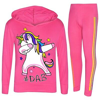 Kids Girls Pink Unicorn Rainbow #Dab Floss Top Legging Set Xmas Tracksuit 7-13Yr
