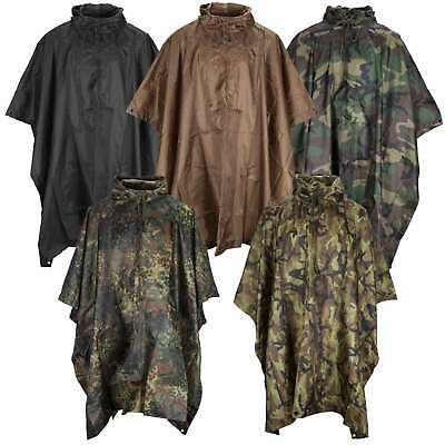 Waterproof Hooded Poncho Ripstop Military Army Camping Hiking Festival Rain Cape