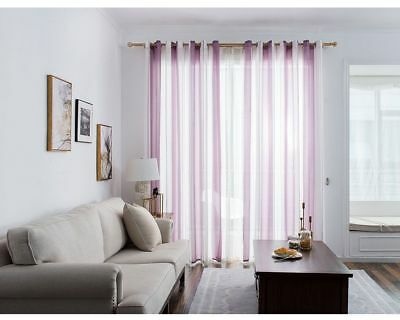 Striped Linen Tulle Window Curtain Modern Woven Scarf Living Room Sheer Voile