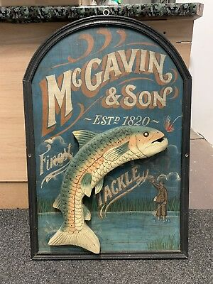 Vintage Wooden McGavin & Son Finest Fishing Tackle Shop Sign Man Cave