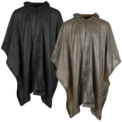 Waterproof Hooded Poncho Plastic Military Army Camping Hiking Festival Rain Cape