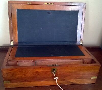Antique Brass Bound Mahogany Campaign Writing Slope C 1898