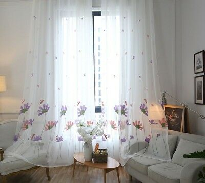 Floral Knitted Tulle Living Room Bedroom Window Curtain White Embroidered Drapes