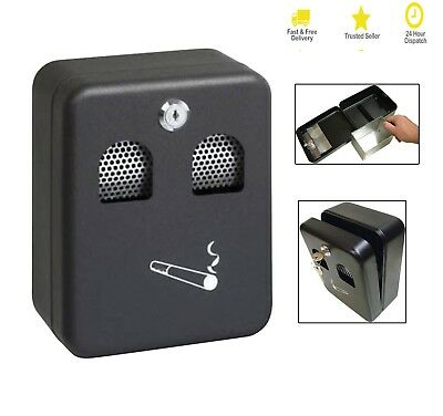 Wall Mounted Metal Ashtray Coated Lockable Outdoor Cigarette Ash Bin with Lock