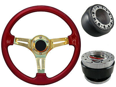 Red Gold Quick Release TS Steering Wheel + Boss Kit fits NISSAN 003