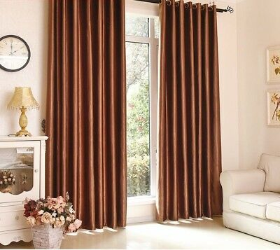 Polyester Blackout Window Curtains Bedroom Living Room Panel Drapes Solid Blinds