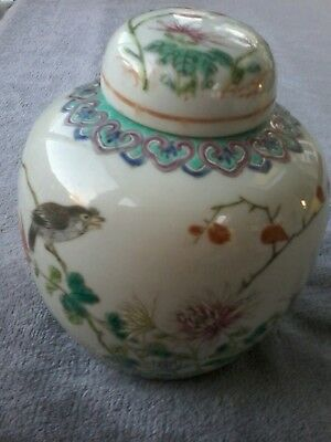 Chinese Vintage/ Antique Ginger Jar. Beautiful Bird And Flower Decoration. 14Cm
