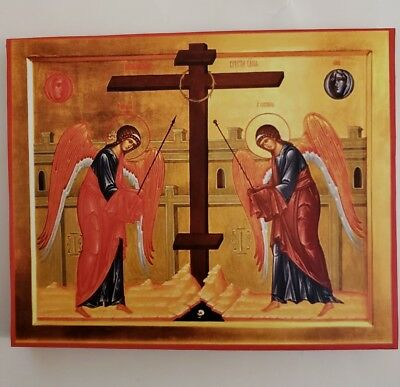 Veneration of the Cross, Orthodox Icon, Size 9, 10/16 X 7,14/16 inches