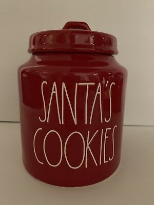 RAE DUNN Ceramic Red SANTA'S COOKIES Christmas Holiday Canister 2018 Ed.