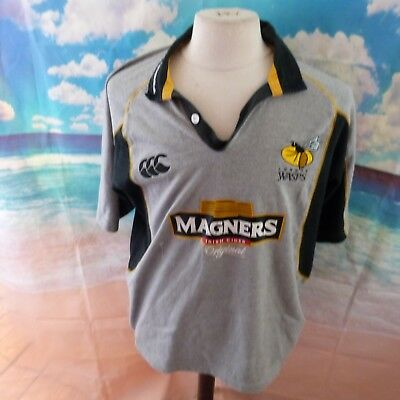 """London Wasps 2005 away Rugby Union Shirt. 22"""" pit-to-pit, 29"""" length, Medium"""
