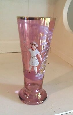 Vtg Mary Gregory Gold Trim Girl Child Bird Pink Cranberry Glass Vase Europe