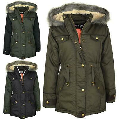 Kids Girls Hooded Jacket Faux Fur Parka School Jane Jackets Outwear Coat 7-13 Yr