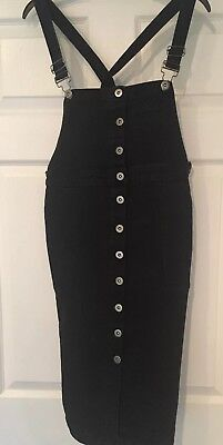 Maternity Pinafore Dungaree Dress Denim 14 Vintage Black Blooming Marvellous