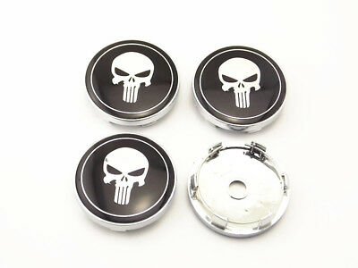 4PCS 60mm Car Wheel Center Hub Caps Clips Punisher Emblems Stickers b6018