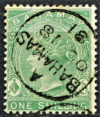Bahamas 1863 issue, SG 39b, 1/- Green, Thin Paper, CDS used CV £30