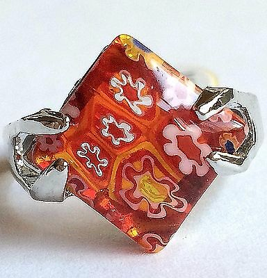Silver Millefiori Cocktail Ring Plated Murano Style Glass Flowers Size 10 Red
