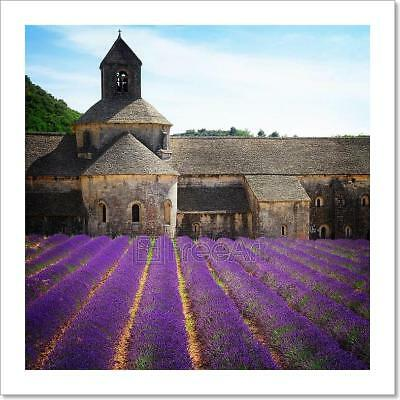Abbey Senanque And Lavender Field, Art Print Home Decor Wall Art Poster - C