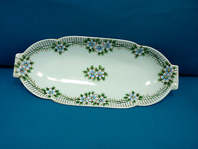 """Antique Nippon Hand Painted 12"""" long Oblong Serving Dish, In Very Good Condition"""