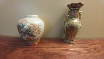 small oriental vase x2 and Japanese serving dish