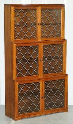 Lovely Vintage Mahogany Three Tiered Waterfall Bookcase With Lead Lined Glass