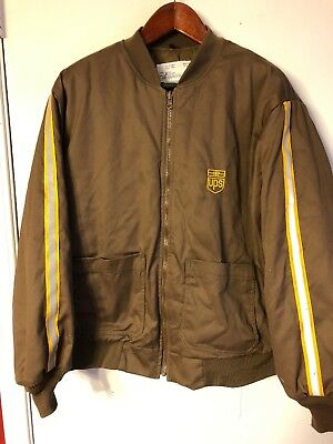 United Parcel Service UPS Mens 2XL Brown Full Zip Thinsulate Quilted Coat Jacket