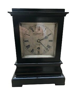 Antique ebonised fusee library clock