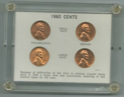 Set Of 4 Unc Large Date/Small Date 1960 P & D Lincoln Cents Coin-Dec109