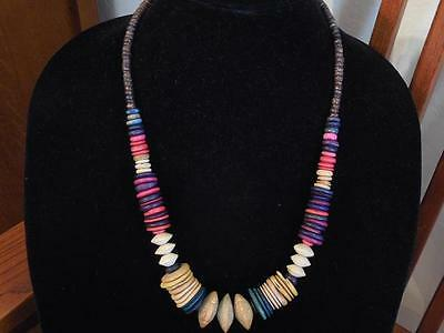 Vintage Strand Graduated Multi-Colored Disc & Roundel Wood Beads Necklace 24""