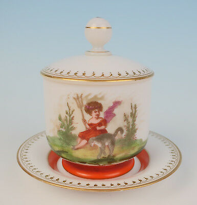 Rare Signed Baccarat Opaline Dresser Jar Girl w/ Cat Antique French Glass Vanity