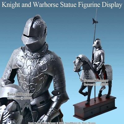 Medieval Crusader Knight and Warhorse Metal Statue Figurine with Display Box