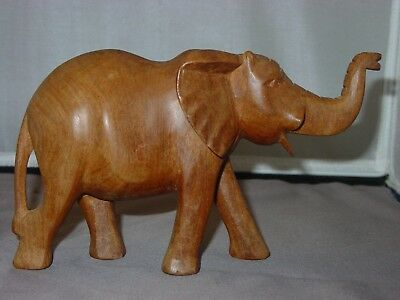 Vintage Carved Wooden Elephant, Trunk Up for Luck, from Burma