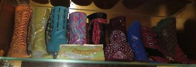 JUST THE RIGHT SHOE Raine Miniature Shoes Lot of 9 Boots 2 bags (group 1)