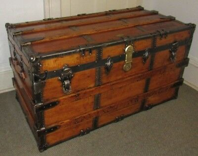 Antique Steamer Trunk X Large High End Vintage Flat Top Chest Great Coffee Table