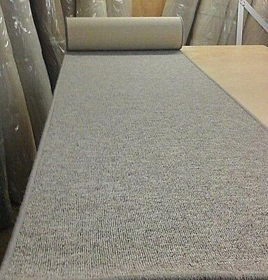 WHIPPED BUDGET FEATURE STAIR CARPET RUNNER 66cm x 8 metres GREY BERBER LOOP