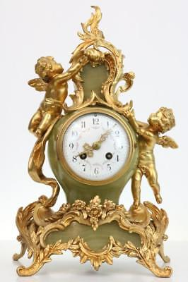 ANTIQUE FRENCH MANTEL CLOCK by Japy Freres MARBLE & ROCOCO GILT METAL cherubs