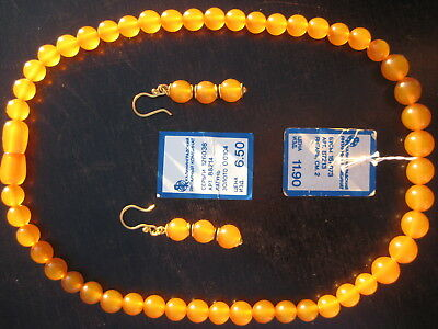 Antique Natural butterscotch egg yolk Baltic Amber Round Beads Necklace Earrings