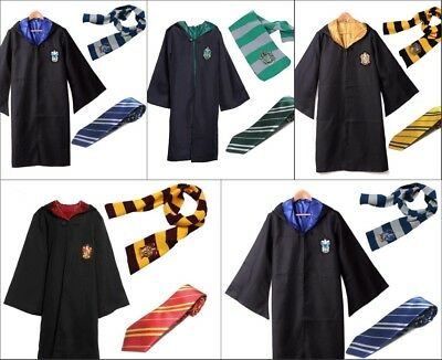 Harry Potter Robe+Schal+Krawatte Uniform Komplett Karneval kostüm Cosplay Suit