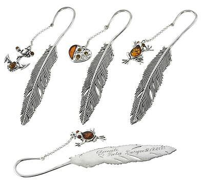 Personalised STERLING SILVER 925 BOOKMARK GIFT HAND ENGRAVING + AMBER  PENDANT
