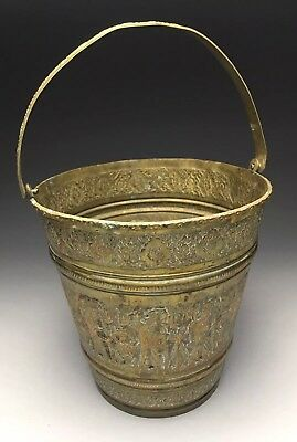 Antique Indo-Persian Hand Chased Brass Handled Bucket