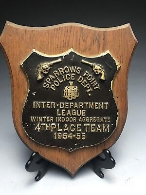 Vintage Sparrows Point Maryland 1954-55 Shooting Contest Trophy Plaque 4th Place