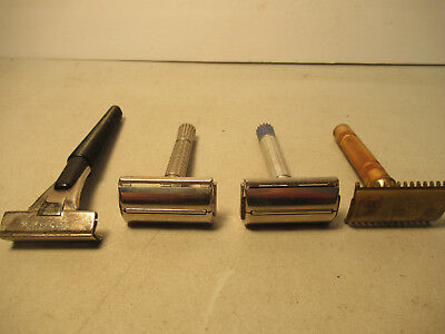 Vintage Safety Razor Lot Of 4 Razors Schick Gillette Free USA Shipping