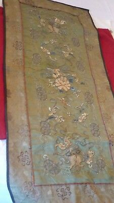broderie tapisserie  en soie chine 19 eme old silk tapestry china 19th