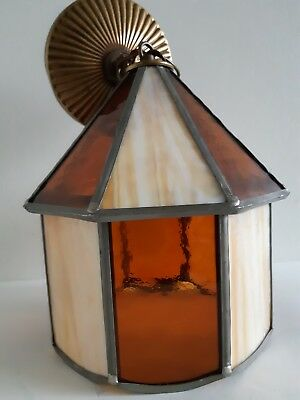 Vintage Amber Slag Glass Porch Entry Ceiling Light Fixture Arts & Crafts Mission