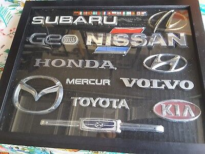 Honda, Nissan, Foreign car emblems in case